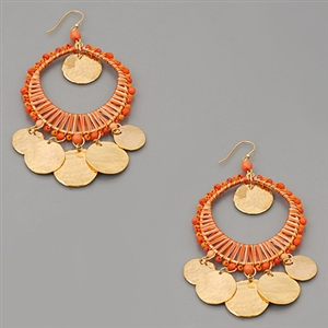 Dreamcatcher Dimpled Coin Charm Earrings